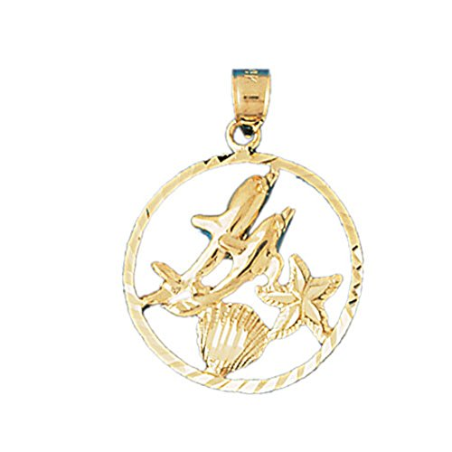 14K Yellow Gold Dolphins Jumping Through Hoop Pendant Necklace - 30 mm
