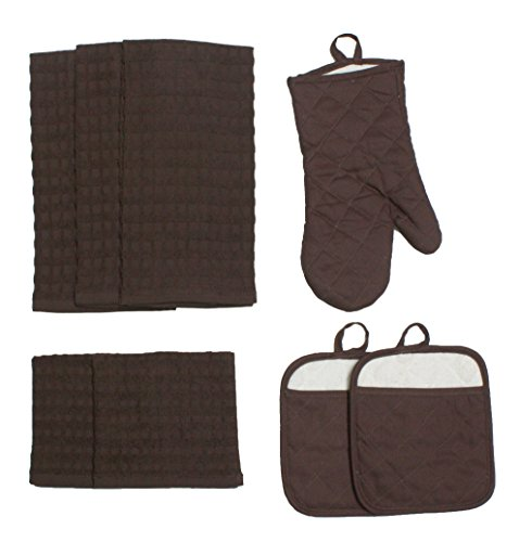 J&M Home Fashions Cotton Kitchen Dish Towels, Pot Holder and Oven Mitt, Set of 8 for Cooking, Baking, Housewarming, Host/Hostess, Wedding Registry, Mother's Day Gifts - Mocha Brown ()