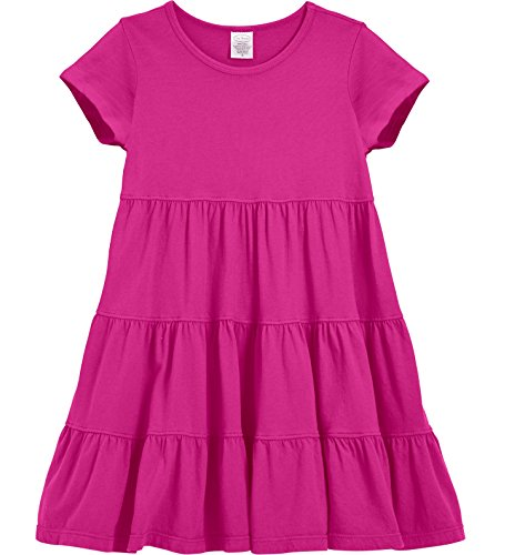 City Threads Little Girls' Super Soft Cotton Short Sleeve Tiered Dress For School Park Play and Party, Hot Pink, - Kids Park City