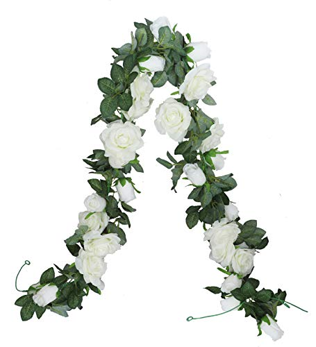 LNHOMY 2 PCS 13 FT Artificial Rose Garland Flower Silk Rose Ivy Vine Fake Hanging Plants Home Wedding Party Garden Craft Art Décor, Cream