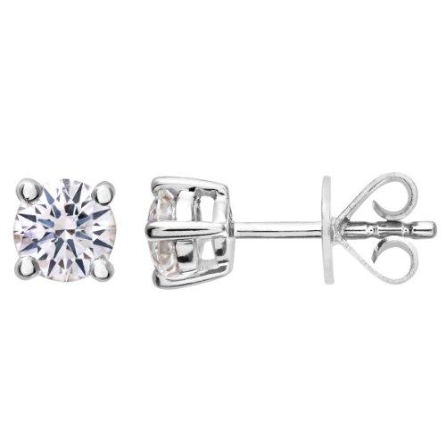 Revoni-Boucles d'Oreilles Clous Femme-Diamant, or blanc 18carats Diamant rond brillant certifié H/SI Boucles d'oreilles 0,50ct, poids du Diamant