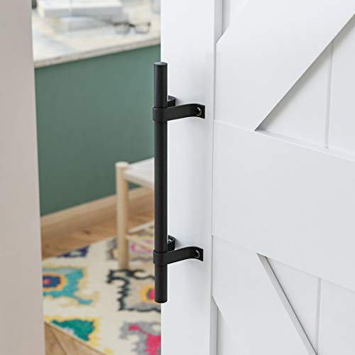 SMARTSTANDARD Sliding Barn Door Pull Handle,Rustic Style,12 inch,for Gate Kitchen Furniture Cabinet Closet ,Matte Black