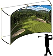 Golf Self-Standing Curved Frame Corner 25mm with Projection Impact Screen and Golf Archery Net Package for Hom
