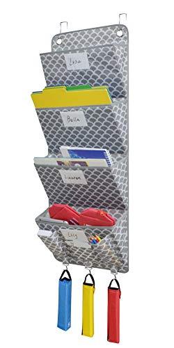 VNOM 4 Pockets - Wall Mount/Over Door Office Supplies File Document Organizer Holder (Fish Scale Pattern)