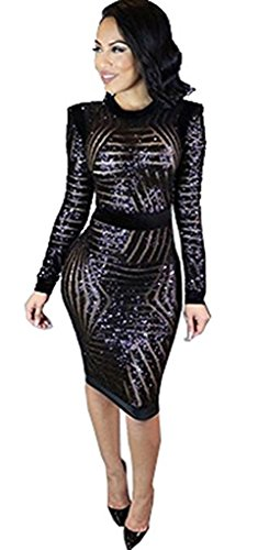 Kearia Womens Sexy Black Sequin Scoop Neck Long Sleeve Bodycon Party Midi Dress (XLarge, Black)