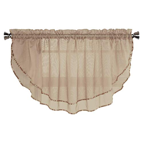 Sheer Voile Valance Curtain for Windows Size 54 in X 24 in Scalloped with Ribbon for Kitchens, Living Room, Dining Room, Bathroom, Bay Windows, Basement, Laundry Room (Taupe)