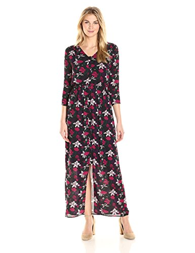 James & Erin Women's Printed Deep V Button Front Georgette Maxi Dress, Night Garden, Medium - Front Georgette Dress