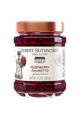Robert Rothschild Farm Raspberry Amaretto Preserves (12.1 oz) - SOFI Award Winning Preserve - Cake or Cookie Filling - Toast or Bagel Spread- Gluten Free Ingredients