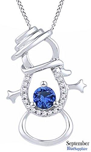 Simulated Sapphire & Natural Diamond Accent Snowman Pendant