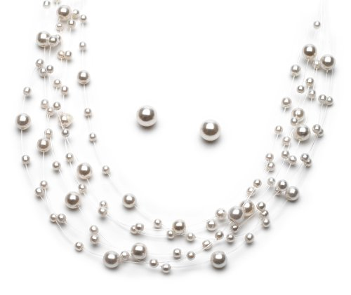 Pearl Illusion Necklace (USABride Bridal & Bridesmaids Jewelry, Ivory Plastic Pearl & Illusion Wire Necklace & Earrings 524-IV)