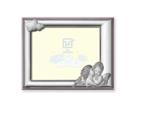 Silver Touch USA Sterling Silver Picture Frame, Pink Angels, 5'' x 7''