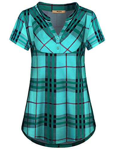 Miusey Plus Size Tunic,Womens Fashion Checker Designer 2XL Shirts for Women Pregnancy Roomy Oversized Flowing Stretchy Easy Fit Shirttail Hem Tapered Blouse Basic Pullover Green XXL
