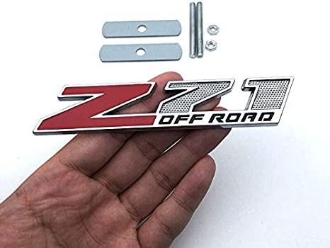 5 Inch Red Grille Z71 Off Road Emblem Badge for Gm Silverado 2500hd 3500hd Sierra Tahoe Chrome Black//Black