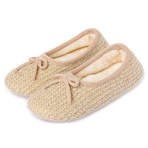 bestfur Women's Cashmere Fabrics Plush Lining Home Slippers Cozy Indoor Shoes