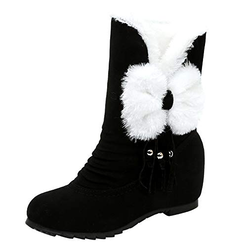 Lazzboy Women Boots Snow Ankle Suede Faux Fur Pom/Bow/Jewelled Antler Round Toe Wedges Warm Fur Lined Slip-On Increase Shoes (3.5 UK,Black-Fur Pom)