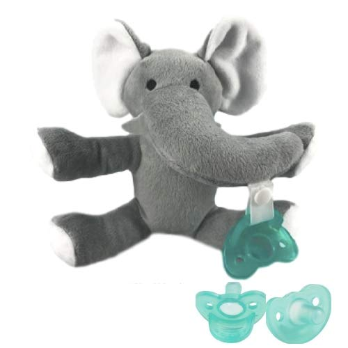 Scoomby Ultra Soft Elephant Pacifier - Super Soft and Plush Materials for Maximum Comfort Perfect for Your Baby - Features 3 Detachable Mouth Pieces for Flexibility and Hygiene