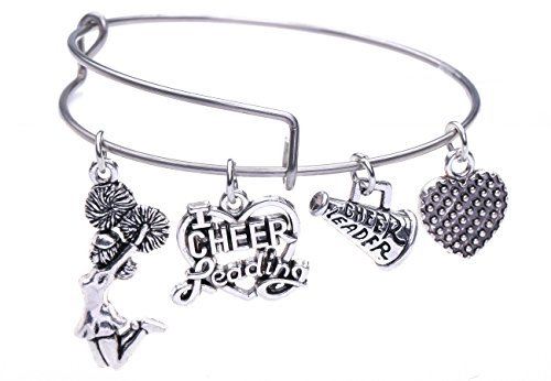 - Cheerleader Girl Heart Megaphone Pendant Stainless Steel DIY Gift Bracelet Gift