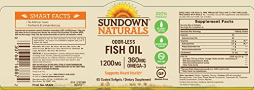 Sundown Naturals Odor-Less Fish Oil 1200mg, 85 Softgels Each(Pack of 12) by Sundown Naturals