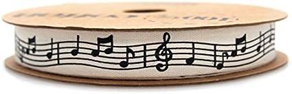 "5 10 Yard SHIP FROM USA MUSIC NOTES WHITE 7//8/"" Grosgrain Ribbon 1"