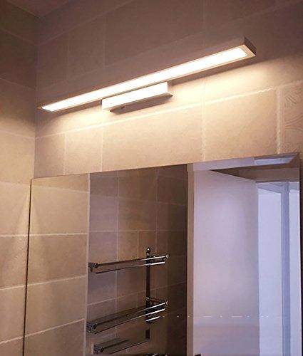 フロントミラーライトミラーフロントライト防水曇りのバスルームの浴室のミラーウォールランプを導いたヨーロッパのシンプルでモダンなミニマリストのボタンキャビネットライトは、長方形の銀色のライトを導いた ( Color : Warm light , Style : 90cm-18W ) B07BC8W5NH 12380