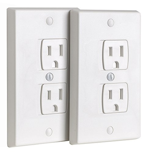 Ziz Home Universal Electric Outlet Cover - Self Closing Baby Proofing Kit - Tamper Proof Child Safety Wall Socket Plug - Durable ABS Plastic - Best House Protection Kit (2 Pack) (Self Receptacle Closing Round)