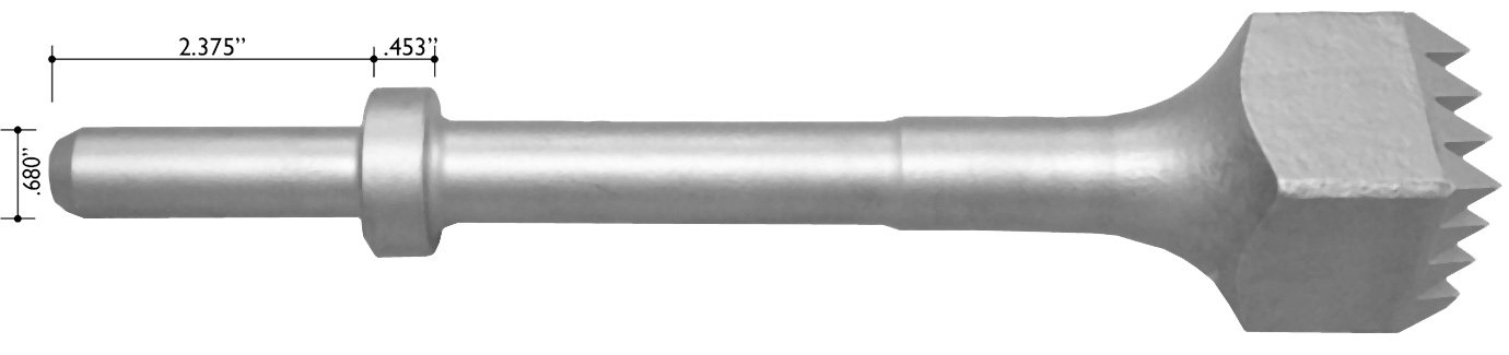 Champion Chisel, Steel Bushing Tool with 16 teeth, .680 Round Shank Oval Collar, Designed for .680 Round Chipping Hammer with Oval Retainer