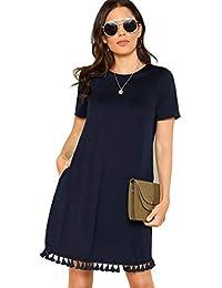Women's Summer Short Sleeve Pocket Tassel Hem Loose Tunic T-Shirt Dress