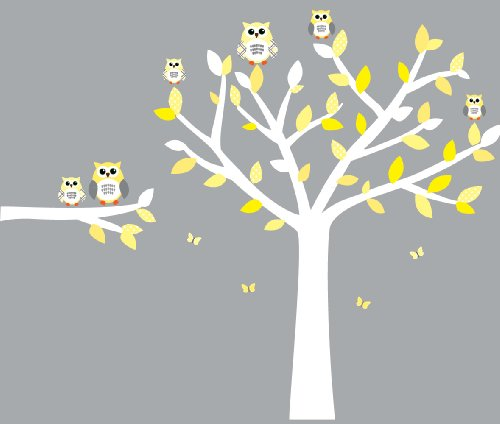 Owl Wall Decals, Nursery Room Wall Decals, Yellow and Gray Vinyl Tree (Wall Inch Decals 5 Birds)