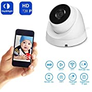 HD 720P Wireless WiFi IP Camera Outdoor/Indoor Waterproof Surveillance Camera Infrared Hemisphere Night Vision Camera with Motion Detection, P2P Home Security Camera