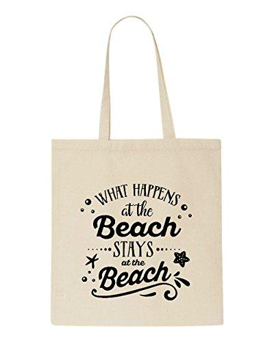 The Beige What Happens Tote Bag Stays Beach At Statement Shopper wwAEz