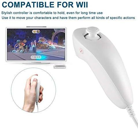 Silverfer T/él/écommande 2en1 Motion Plus Gauche Contr/ôleur Nunchuck pour Nintend Wii Game-Blanc