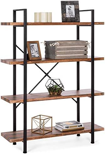 Best Choice Products 4-Shelf Industrial Open Bookshelf for Living Room, Office w Wood Shelves, Metal Frame -Brown Black