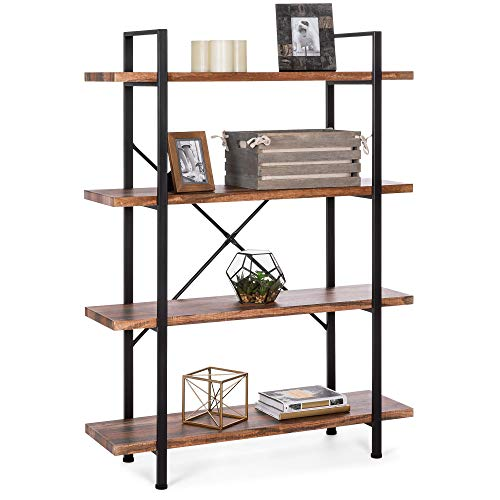 Best Choice Products 4-Shelf Industrial Open Bookshelf Organizer Furniture for Living Room, Office w Wood Shelves, Metal Frame, Brown Black
