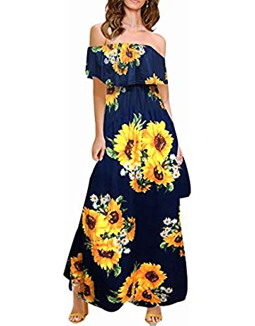 918ce10def MIDOSOO Womens Side Slit Off Shoulder Ruffled Long Printed Foral Maxi Dress  with Pockets