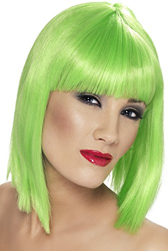 [Smiffy's Women's Short Blunt Cut Neon Green Wig with Bangs, One Size, Glam Wig, 5020570421383] (Neon Green Wigs)