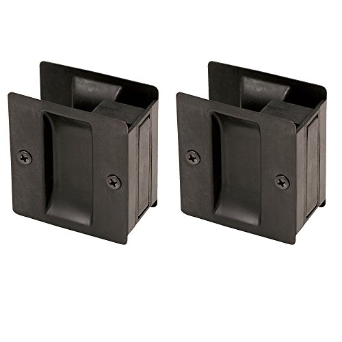 Design House 182105 Pocket Door Hall and Closet Pull, 2-Pack, Oil Rubbed Bronze