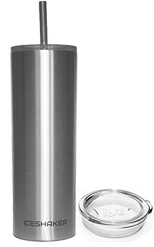 Ice Shaker 20oz Stainless Steel Skinny Tumbler with Lid and