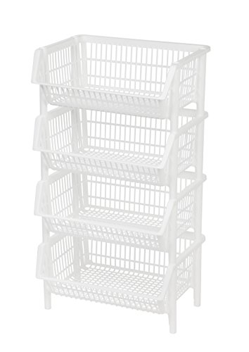 Jumbo Stacking Basket, 4 Pack, White (Basket Stackable)