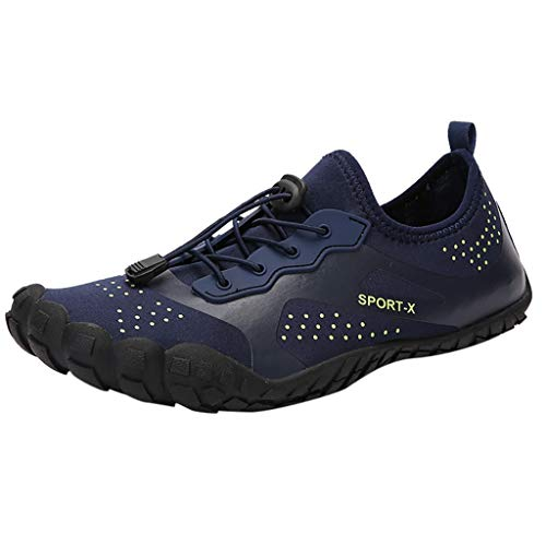 NUWFOR Unisex Quick-Dry Water Shoes Pool Beach Swim Drawstring Shoes Creek Diving Shoes(Dark Blue, 6-6.5 M US Length:9.1