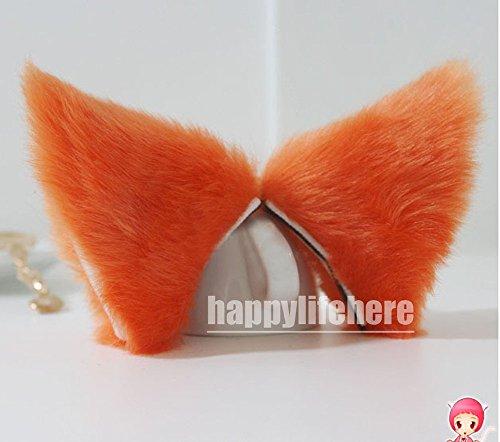 Hot Sweet Lovely Anime Lolita Cosplay Fancy Neko Cat Ears Hair Clip Orange with Skin Inside