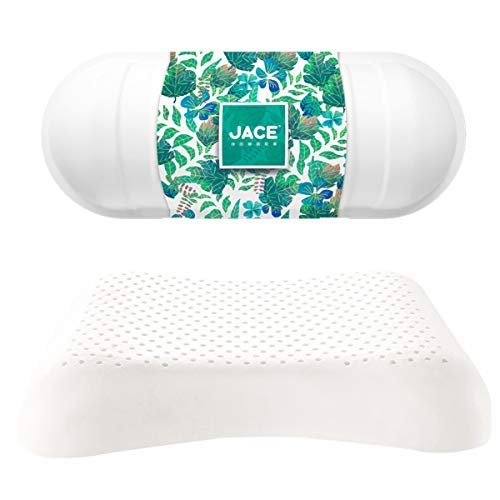 JACE Side Sleeper Bed Contour Rest Talalay Organic Latex Massage Cervical Neck Pillow with Breathable Covers Queen Size