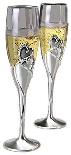 NWA Set of 2 Beautifully Customized Wedding Toasting Flutes, Personalized Champagne Flutes for Bride and Groom ()