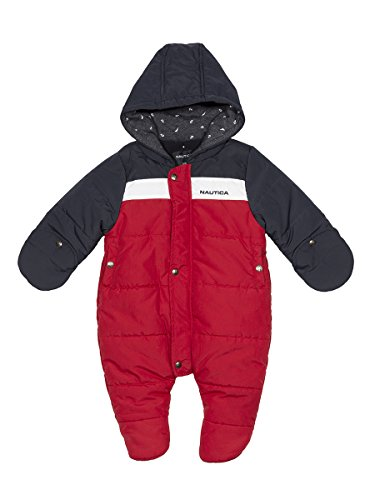 Nautica Baby Boys' Colorblock Snowsuit, red