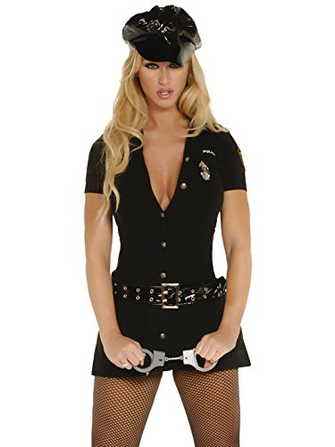 Plus Size Womens Police Officer Costumes - Plus Size Cop Costume Womens 4 Piece Set Black Mini Dress and Accessories Sizes: 1X-2X