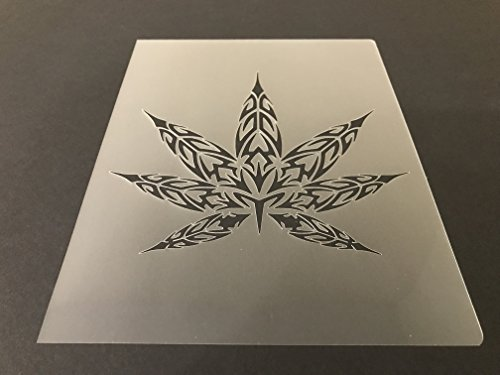 Pot leaf Marijuana Weed Cannabis Stencil #2 Reusable 10 mil Thick 7in x 9in sheet by Everyday Funny Finds
