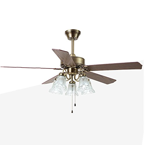 European Antique Bronze Ceiling Fan Light Restaurant Living Room Study Home with Light Fan (Color : 48 inch Wood Leaf(Remote Control))