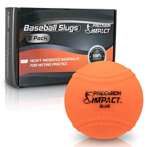 Precision Impact Slugs with Laces: Heavy Weighted 15oz Baseballs for Hitting; with 1-Year Warranty (6-Pack) (Best Baseballs For Batting Practice)