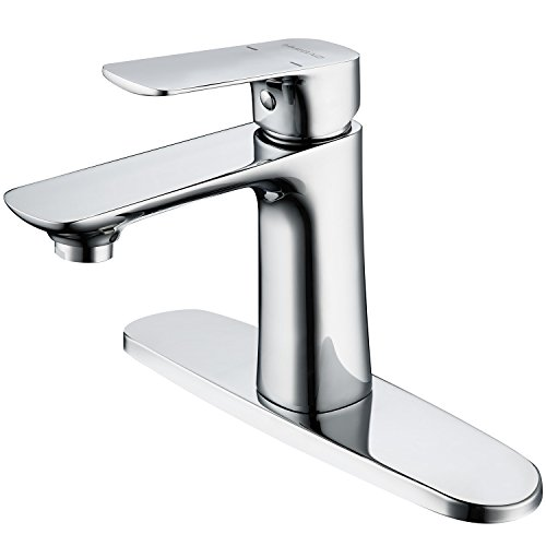 HMEGAO Brass Basin Faucet Bathroom Sink Single Lever Faucet Chrome Plated Mixer Tap With Cover Plate for Home and Hotel Bathroom Sink Usage(chrome plated) (Plated Basin Mixer)