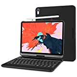 ProCase iPad Pro 12.9 Keyboard Case 2018 [Support Apple Pencil Charging], 360 Degree Rotation Swivel Cover Case with Wireless Keyboard for Apple iPad Pro 12.9 Inch 3rd Gen 2018 [Latest Model] -Black
