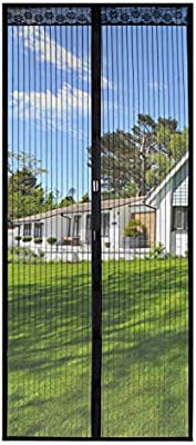 Magnetic Screen Door 35x82 Inches,Screen Doors with Magnets Heavy Duty Mesh  Curtain Full Frame Hook&Loop,For Front Door Apartments and More,Hands ...
